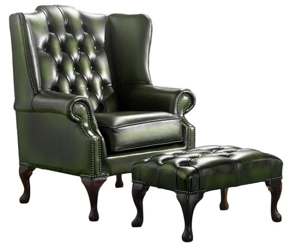Chesterfield Handmade Mallory Flat Wing Back Armchair Antique Green Leather + Footstool