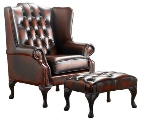 Chesterfield Handmade Mallory Flat Wing Back Armchair Antique Light Rust Leather + Footstool