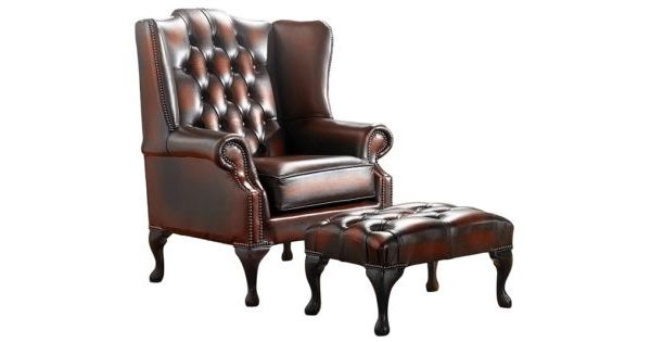 Chesterfield Queen Anne Wing Chair Footstool