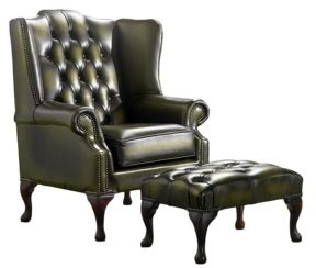 Chesterfield Handmade Mallory Flat Wing Back Armchair Antique Olive Leather + Footstool