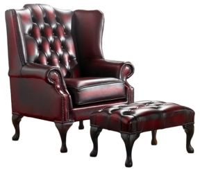 Chesterfield Handmade Mallory Flat Wing Back Armchair Antique Oxblood Leather + Footstool
