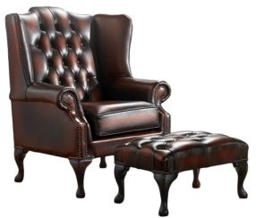Chesterfield Handmade Mallory Flat Wing Back Armchair Antique Rust Leather + Footstool