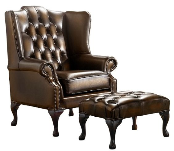 Chesterfield Handmade Mallory Flat Wing Back Armchair Antique Tan Leather + Footstool