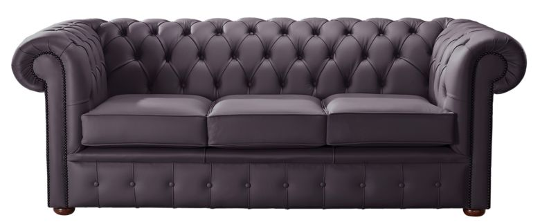 Chesterfield Handmade Leather Shelly Amethyst 3 Seater Sofa Settee