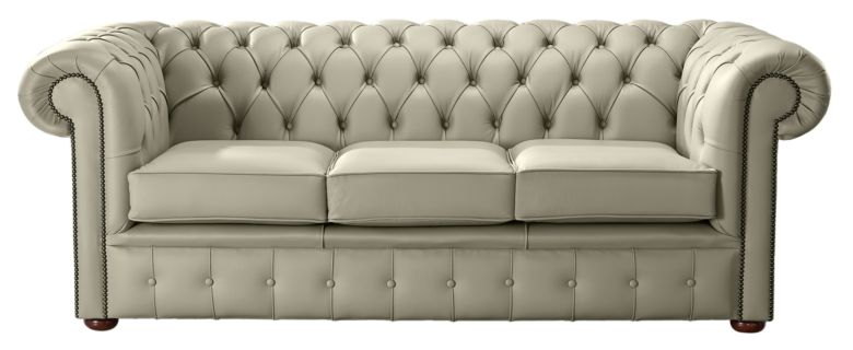 Chesterfield Handmade Leather Shelly Ash 3 Seater Sofa Settee