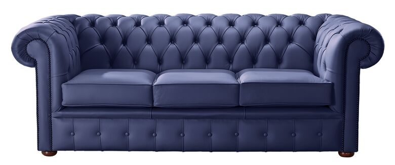 Chesterfield Handmade Leather Shelly Bilberry Blue 3 Seater Sofa Settee