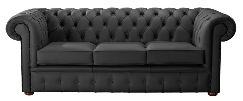 Chesterfield Handmade Leather Shelly Black 3 Seater Sofa Settee