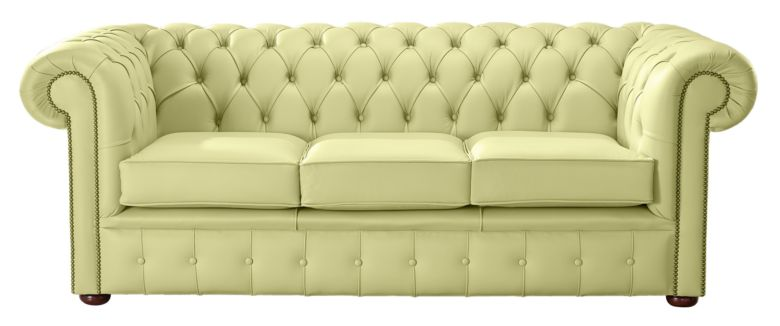 Chesterfield Handmade Leather Shelly Chartreuse Green 3 Seater Sofa Settee