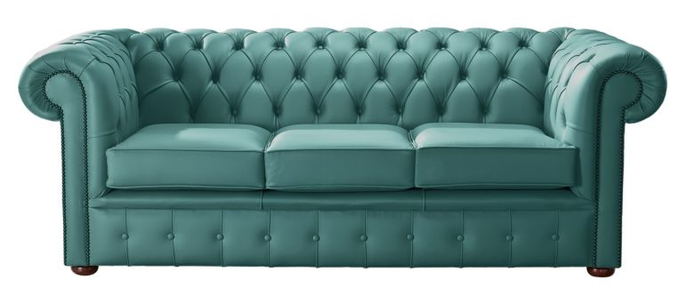 Chesterfield Handmade Leather Shelly Dark Teal 3 Seater Sofa Settee