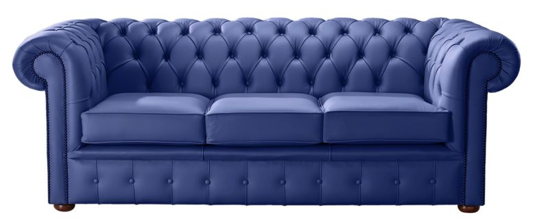 Chesterfield Handmade Leather Shelly Deep Ultramarine Blue 3 Seater Sofa Settee