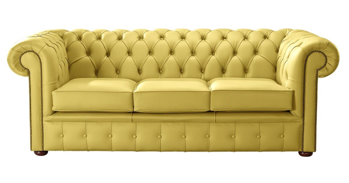 Deluca Yellow Leather Chesterfield 3 Seater Sofa