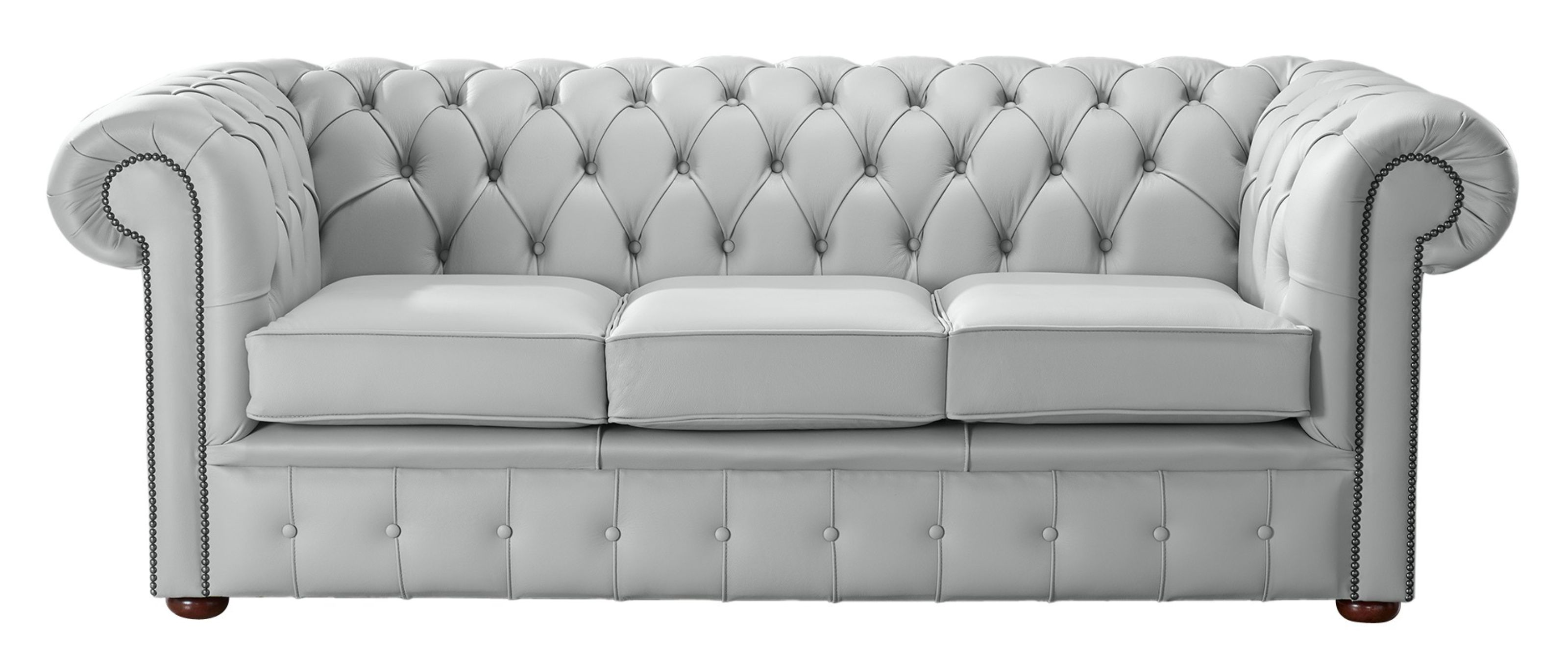 Silver Grey Leather Chesterfield 3 Seater Sofa Designersofas4u