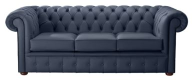 Chesterfield Handmade Leather Shelly Suffolk Blue 3 Seater Sofa Settee
