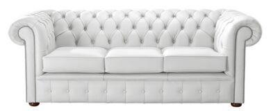 Chesterfield Handmade Leather Shelly White 3 Seater Sofa Settee