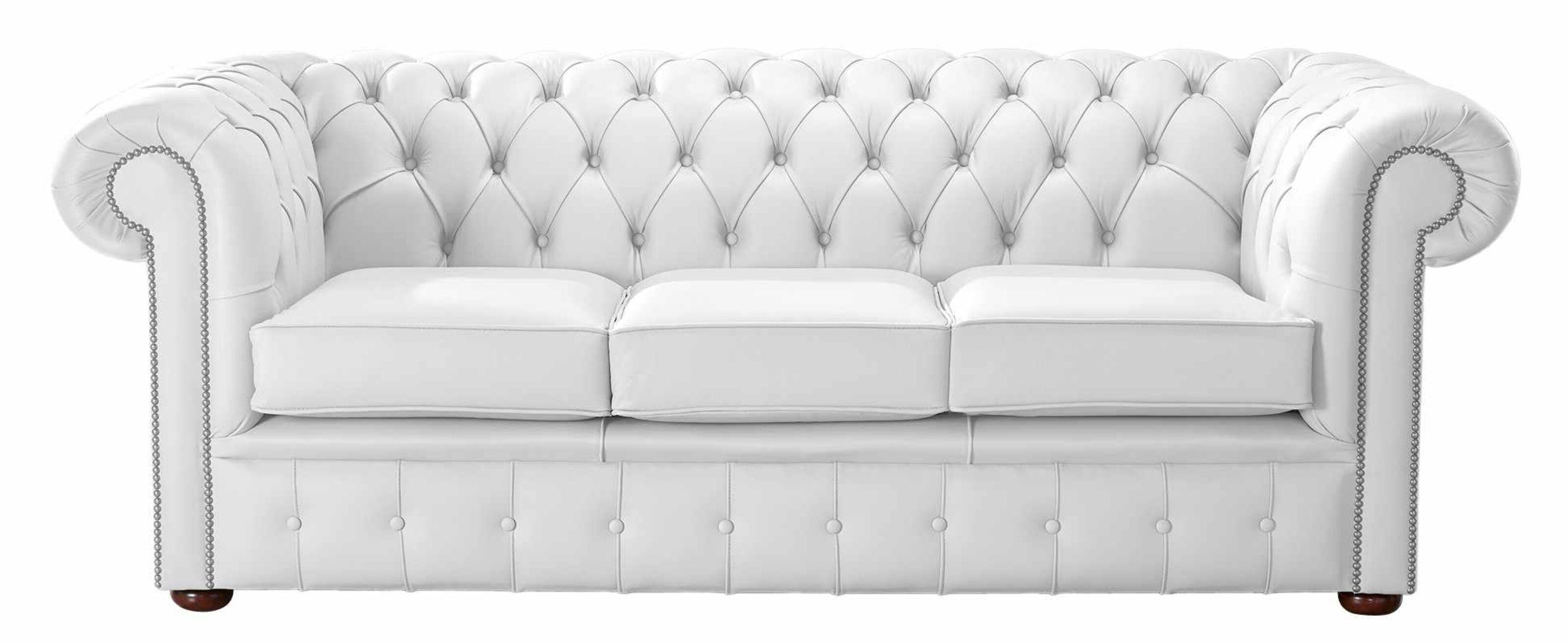 - Winter White Leather Chesterfield 3 Seater Sofa DesignerSofas4U