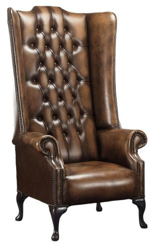 Chesterfield Soho 1780's Leather High Back Wing Chair Antique Autumn Tan