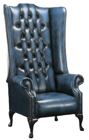 Chesterfield Soho 1780's Leather High Back Wing Chair Antique Blue