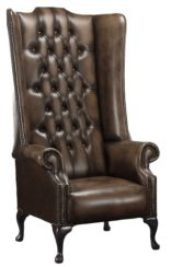 Chesterfield Soho 1780's Leather High Back Wing Chair Antique Brown