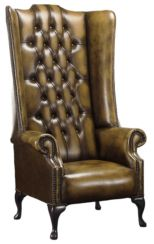 Chesterfield Soho 1780's Leather High Back Wing Chair Antique Gold
