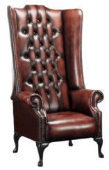 Chesterfield Soho 1780's Leather High Back Wing Chair Antique Light Rust