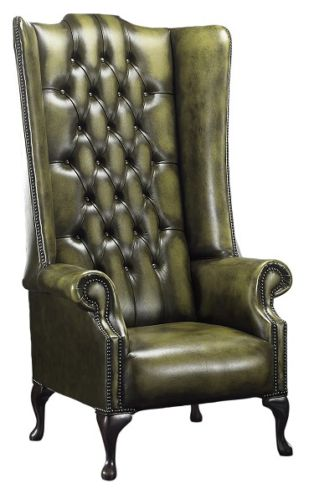 Chesterfield Soho 1780's Leather High Back Wing Chair Antique Olive