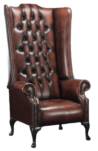 Chesterfield Soho 1780's Leather High Back Wing Chair Antique Rust