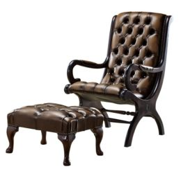 Chesterfield York Slipper Stand Armchair Antique Autumn Tan Leather + Footstool
