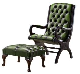 Chesterfield York Slipper Stand Armchair Antique Green Leather + Footstool