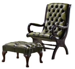 Chesterfield York Slipper Stand Armchair Antique Olive Leather + Footstool