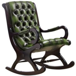 Chesterfield York Slipper Rocking Armchair Antique Green Leather