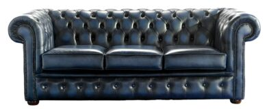 Chesterfield Handmade 3 Seater Sofa Antique Blue Leather