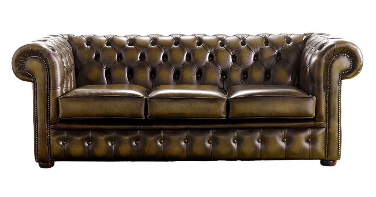 Chesterfield Handmade 3 Seater Sofa Antique Gold Leather