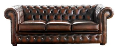 Chesterfield Handmade 3 Seater Sofa Antique Light Rust Leather