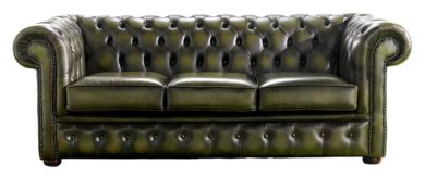 Chesterfield Handmade 3 Seater Sofa Antique Olive Leather
