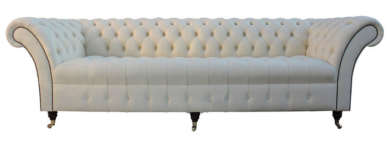 Chesterfield Lawrence 4 Seater Sofa Buttoned Seat Settee Cream Leather