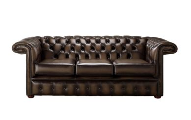 Chesterfield 1857 Hockey Stick 3 Seater Antique Brown Leather Sofa Offer