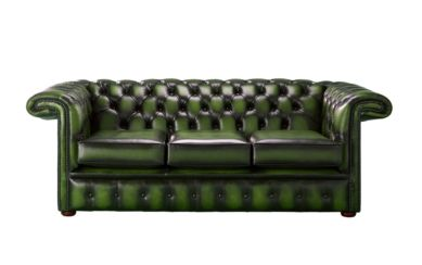 Chesterfield 1857 Hockey Stick 3 Seater Antique Green Leather Sofa Offer