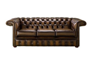 Chesterfield 1857 Hockey Stick 3 Seater Antique Tan Leather Sofa Offer