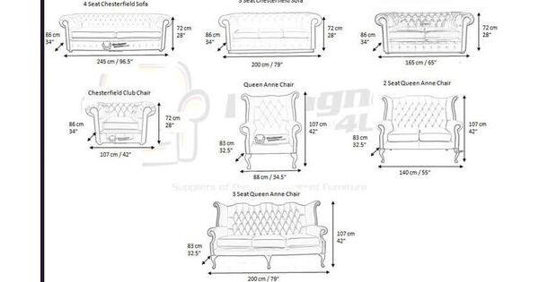 Measurements Of Chesterfield Furniture Designer Sofas 4u