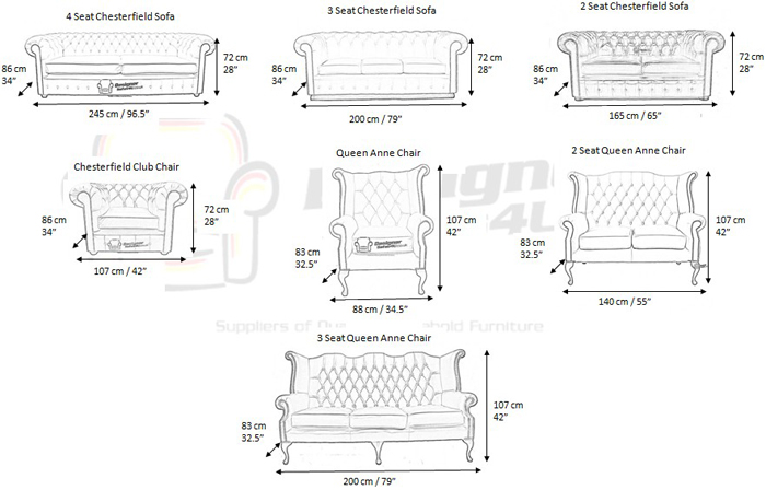 Chesterfield sofa dimensions