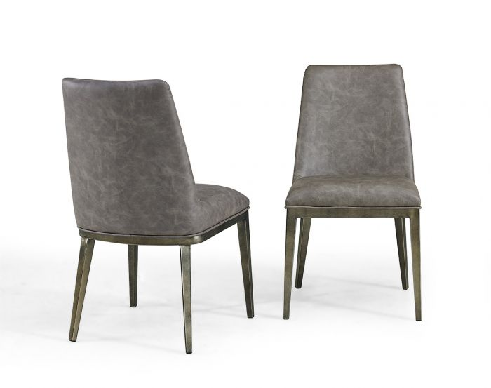Donatella Dining Chair Vintage Grey Faux Leather