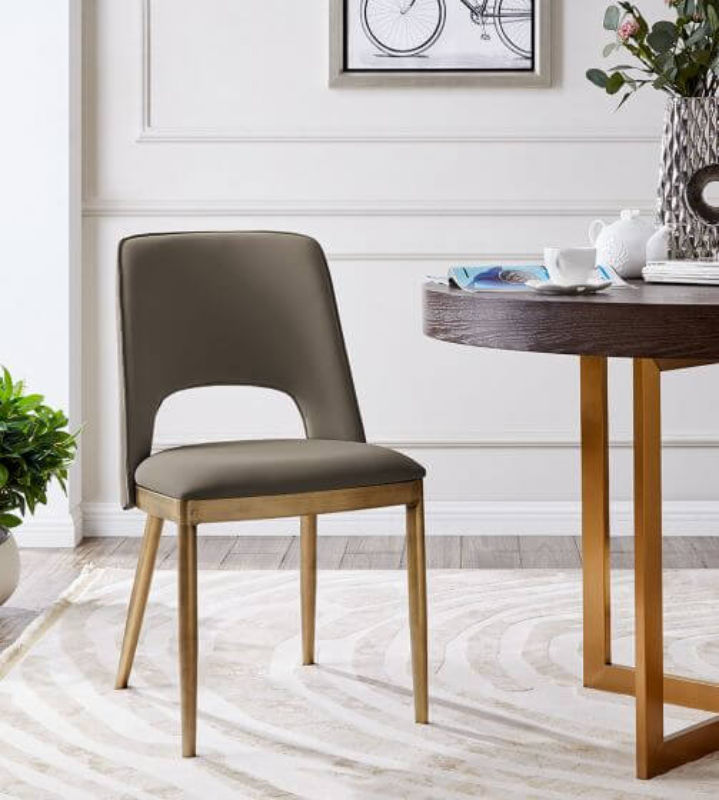 Pio Dining Chair Taupe Faux Leather Furniturecompare