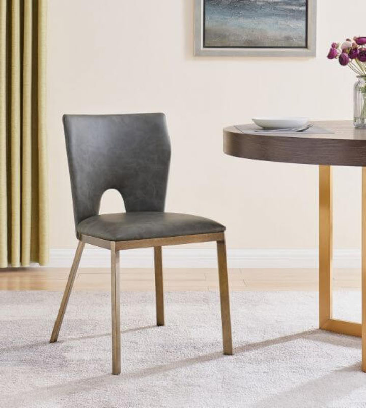 Raphael Dining Chair Vintage Grey Faux Leather