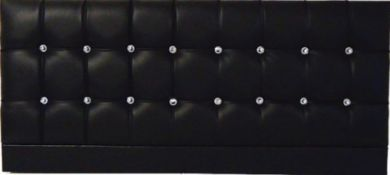 Saturn Bling Black Faux Leather - Single Bed Headboard