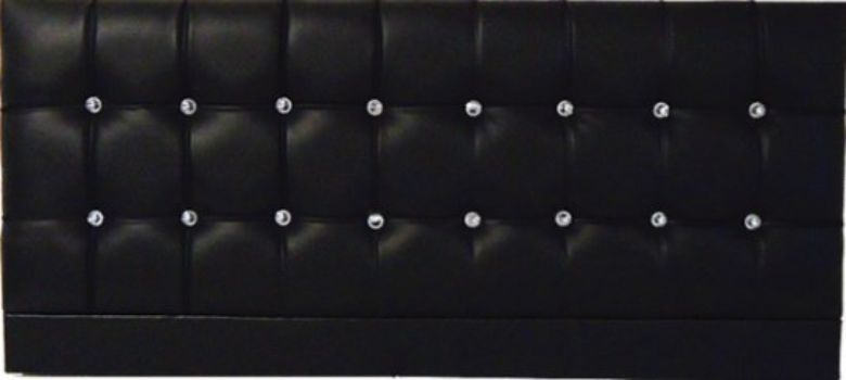 Saturn Bling Black Faux Leather - Double Bed Headboard