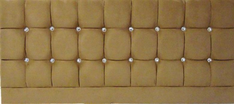 Saturn Bling Suede Tan - Double Bed Headboard