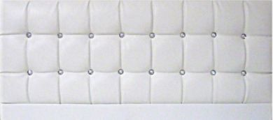 Saturn Bling White Faux Leather - Kingsize Bed Headboard