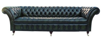 Chesterfield Blenheim 4 Seater Sofa Buttoned Seat Settee Antique Green Leather