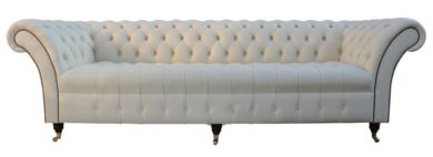 Chesterfield Blenheim 4 Seater Sofa Buttoned Seat Settee Cream Leather