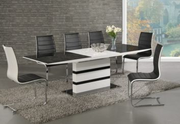 Arctic White High Gloss Extending Black Glass Dining Table With 6 Encore Chairs